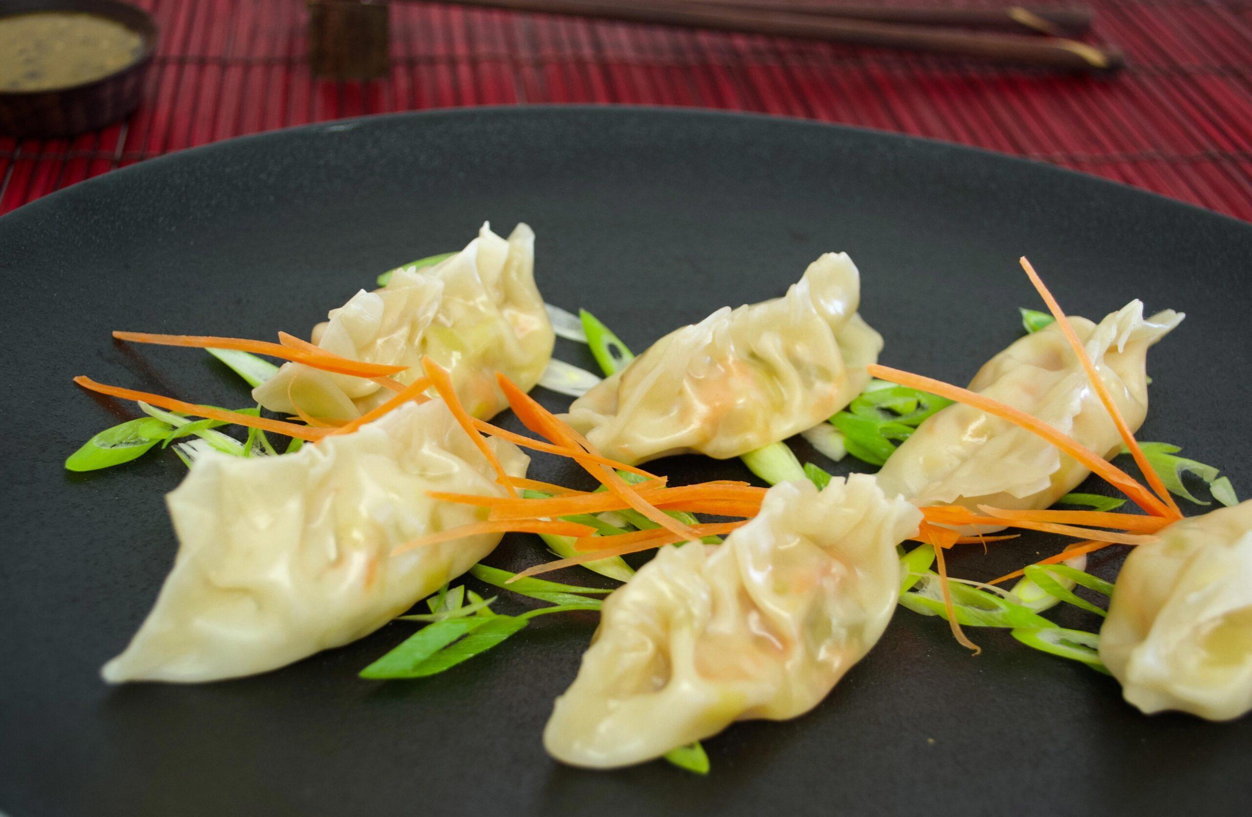 Dumplings à l'effiloché de saumon fumé