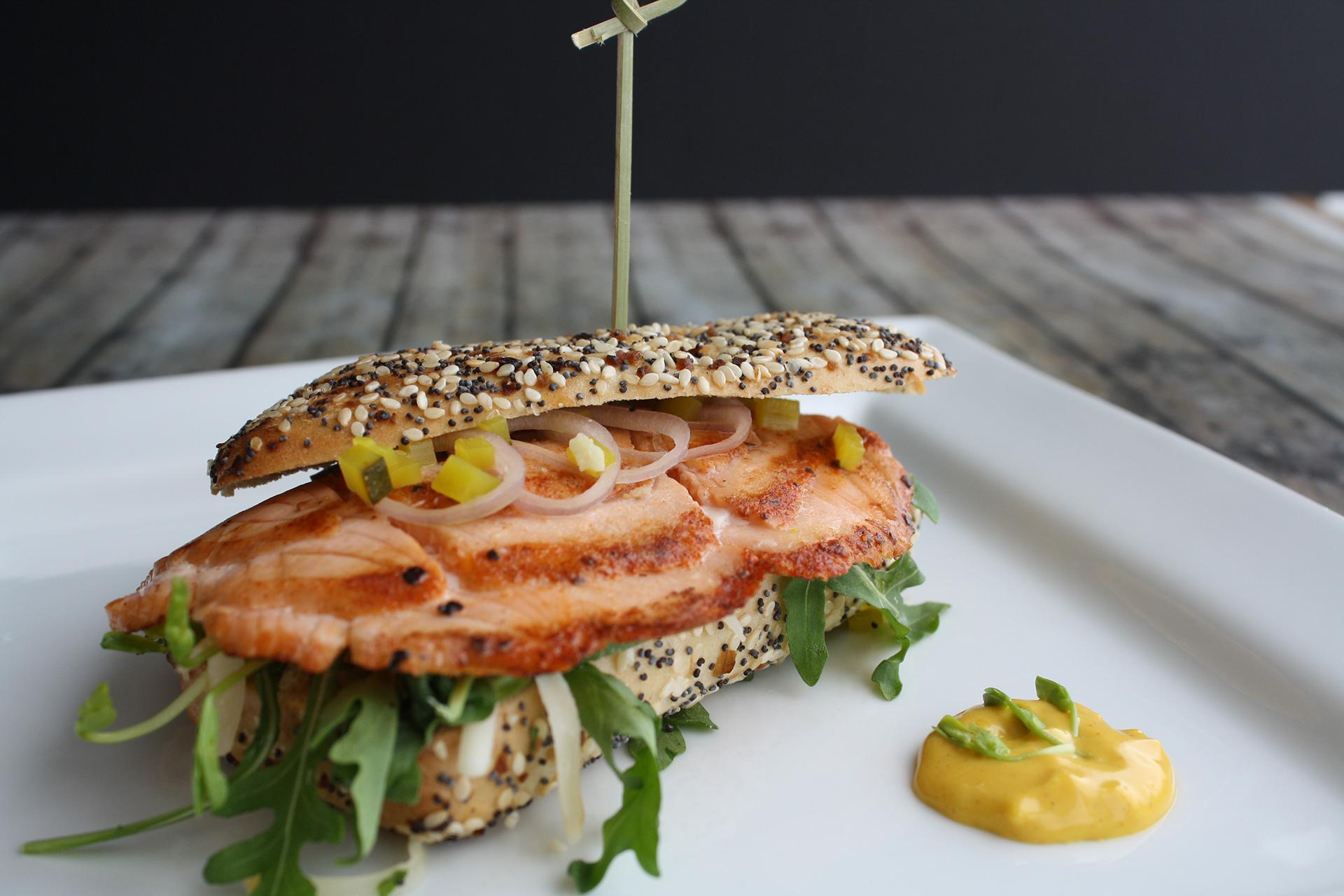 Sandwich with Pastrami-style Atlantic Smoked Salmon
